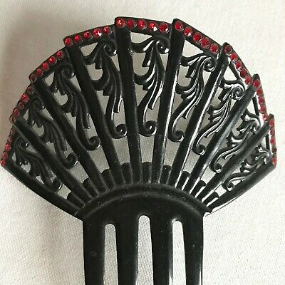Vintage Large Black Decorative Hair Comb with Red Rhinestones
