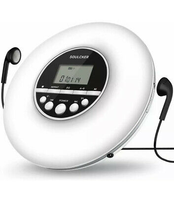 Soulcker Personal Compact Disc CD Player with Headphones White New!