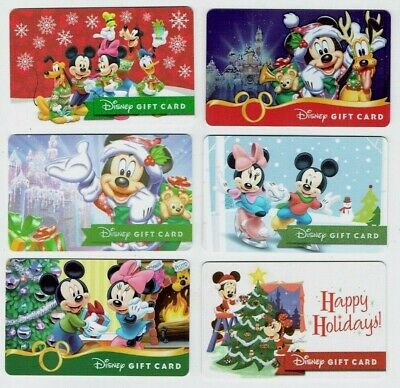 DISNEY Gift Card - Christmas Winter / Mickey Mouse & Minnie - No Value- LOT of 6