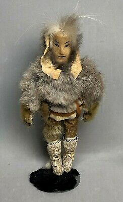 Doll Antique Alaska Eskimo Indian Hand Crafted Wood Carved Face Leather Fur