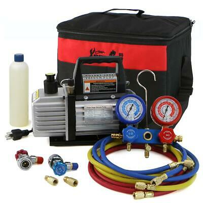 1/4 HP 3 CFM Air Vacuum Pump HVAC A/C Refrigerant Kit with AC Manifold Gauge Set