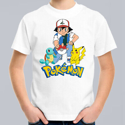 Pokemon Catch em All Kids T-Shirt, Children Retro Cartoon Comic Tee Size 0-16