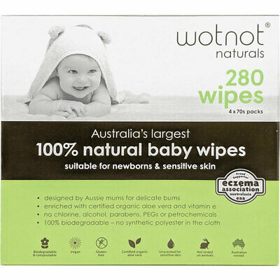 Wotnot All Natural Baby Wipes 4x70 Pack