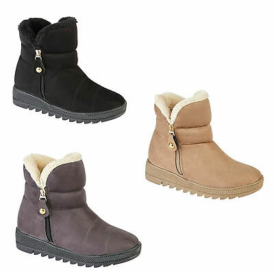Ladies Womens Winter Fur Ankle Boots Grip Sole Snow Walking Warm Slip On Shoes