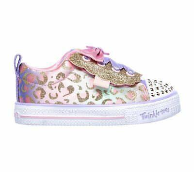 Skechers Twinkle Toe Lite Sweet spots Girls Trainers in Pink with Gold