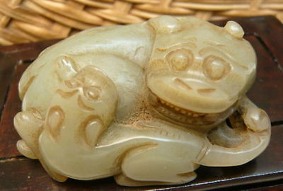 Chinese Vintage Nephrite Hetian Jade Match Pixiu Wealth God Pendant Carving