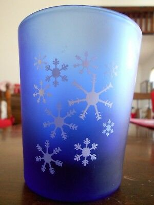 Snowflakes Double Old Fashioned 12 oz. Glass Anchor Hocking? Cobalt Blue White !