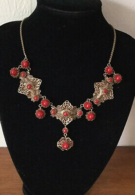 Unusual Vintage Max Neiger Czech Art Deco Brass /Red Glass Bead Necklace c1920's