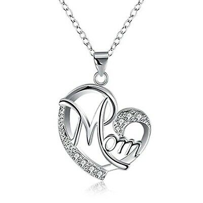 Love MOM Heart Pendant Necklace for Women Mother Gift White Gold Plated