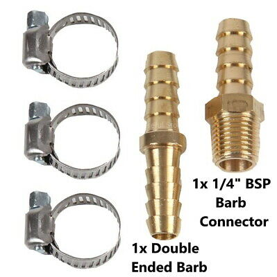 Air Hose Repair Kit 5 Piece 1/4 BSP Male Barb Connector Clamps Thread Fittings