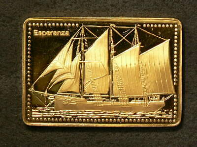 Esperanza of Brazil Tall Ship Gold Plated Silver Stamp 99.99% #5488
