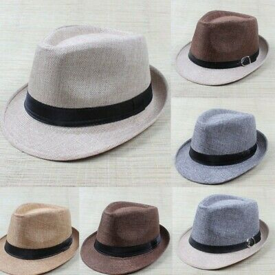 Unisex Trilby Gangster Blues Vintage Bowler Style Panama Fitted Hat Sun Beach UK