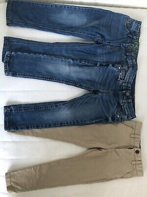 3 Pairs Of Boys Jeans Trousers Bundle. Blue, Tan, Joules, Next, M&S, 3-4 Years