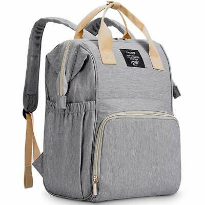 Gray 6-Pocket Water Proof Multi-Function Mom Maternity Backpack Baby Diapers Bag