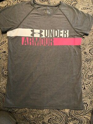 Under Armour T Shirt Gray Pink Youth Girls Large