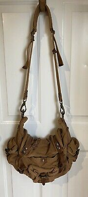 Kakadu authentic brown tan canvas leather military army messenger bag