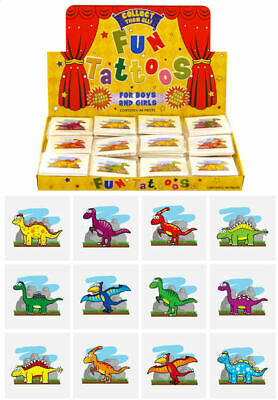 12 Dinosaur Temporary Tattoos - Pinata Toy Loot/Party Bag Fillers Childrens/Kids
