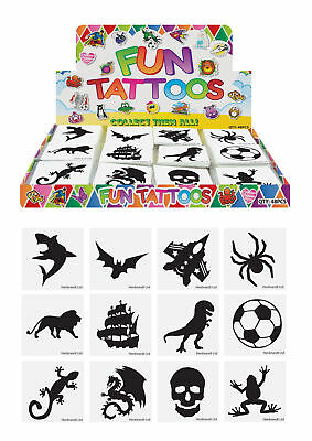 12 Boys Temporary Tattoos - Pinata Toy Loot/Party Bag Fillers Childrens/Kids