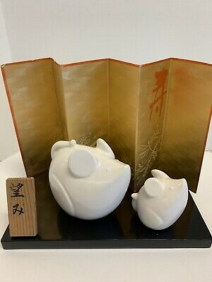 Japanese Year of the Rat White Ceramic Figures with Display Stand