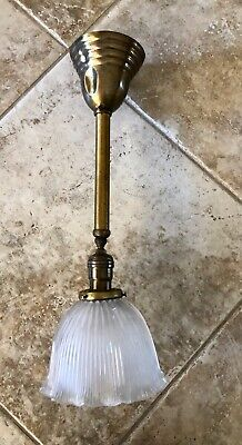 Vintage Weber Bronze Hanging Light Fixture w/ Holophane Ribbed Glass Shade