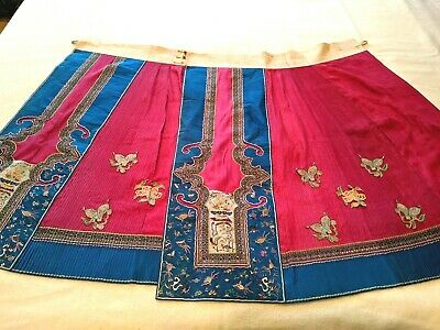 Antique 19th 20th Century CHINESE EMBROIDERED Wedding SKIRT Qing Dynasty Silk