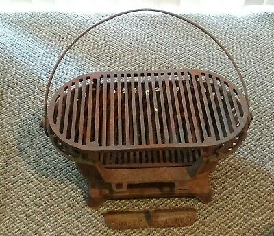 Old Vintage / Antique cast iron portable charcoal grill handle camping primitive