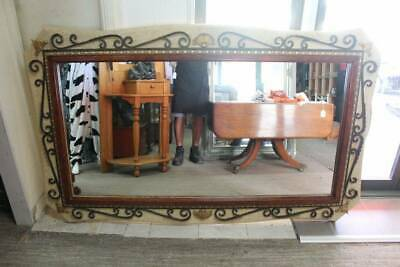 A Large Ornate Timber & Wrought Iron Wall Mirror 2m x 1.2m