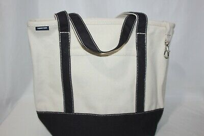 Land's End Medium open top canvas tote bag Navy Blue Ivory Key Ring Overnight