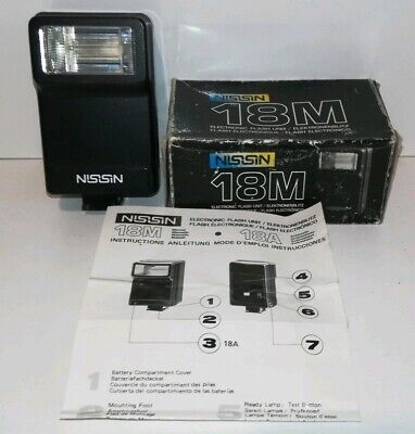 NISSIN 18M ELECTRONIC FLASH UNIT FITS VARIOUS CAMERAS hot shoe mount Boxed