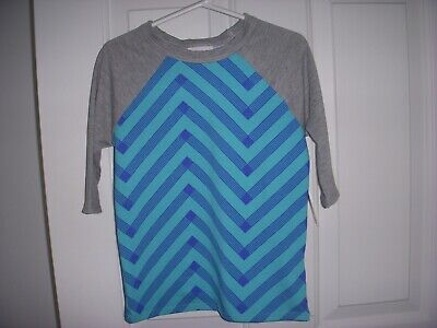 NWT LuLaRoe Kids Sloan shirt teal & blue body with gray sleeves    Size- 4