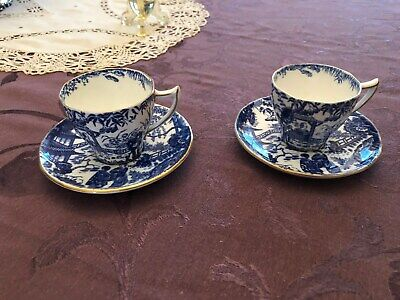 ROYAL CROWN DERBY Blue Mikado 2 Demitasse Cup & Saucer sets