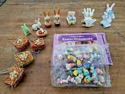 Lot of 32 Vintage Miniature Easter Tree Ornaments Bunnies Eggs Baskets Assorted