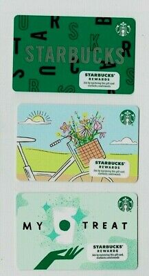 STARBUCKS Gift Card SPRING Flowers, Bike 2020 - LOT of 3 - Collectible /No Value