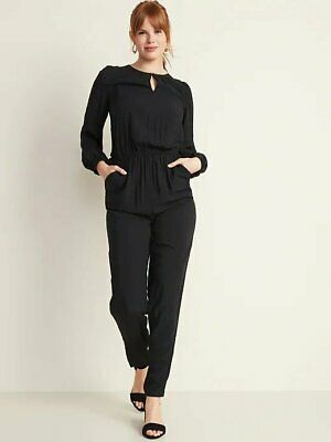Old Navy Women's Waist-Defined Keyhole Jumpsuit Size L- SOLID Black- NWT