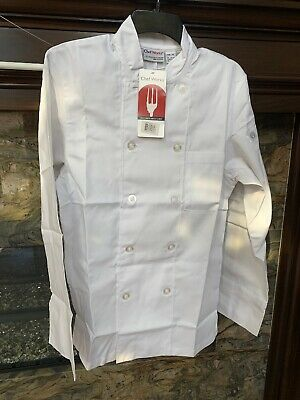 NWT ~ CHEF WORKS Unisex Le Mans Basic Chef Coat White Size XSMALL