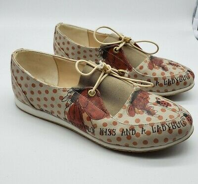 RARE Goby Sz 38 / 7.5 US Lady Bug Print Shoes Tan Red LET YOUR SOUL FREE $129
