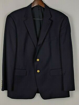 Lauren Ralph Lauren 42S Suit Blazer Navy Blue Goldtone Buttons All Season Wool