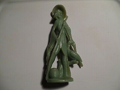 Tall Chinese wiseman with bird faux jade statue