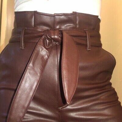 NWT Abercrombie Dark Brown Faux Leather High Waist Paperbag Pants size Large