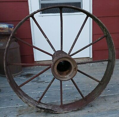 "Iron Wagon Wheel,Lawn Or Yard Decoration Pair 28"" Diameter."