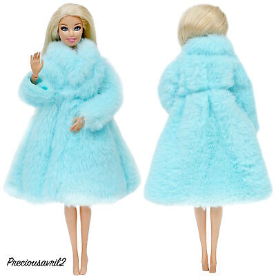 New Barbie Doll Clothes  coat clothing jacket outfit blue fur coat winter