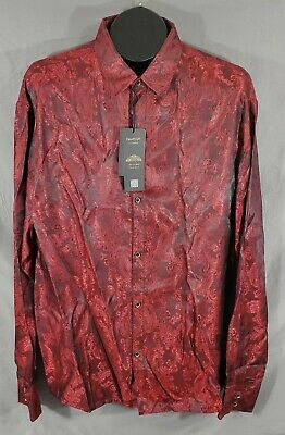 2XL Red Paisley Print Mens Polyester Blend Button Front Shirt