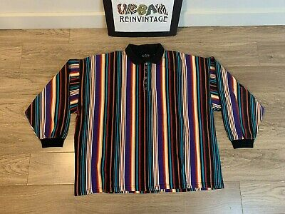Vtg 80S Cosi Long Sleeve Polo Shirt Sz L Vertical Striped Multicolor Supreme 90S