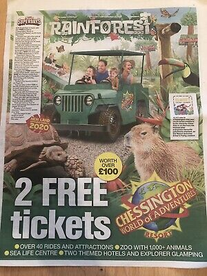 2x Chessington Tickets, Booking Form and 10 Sun Tokens - QUICK REPONSE
