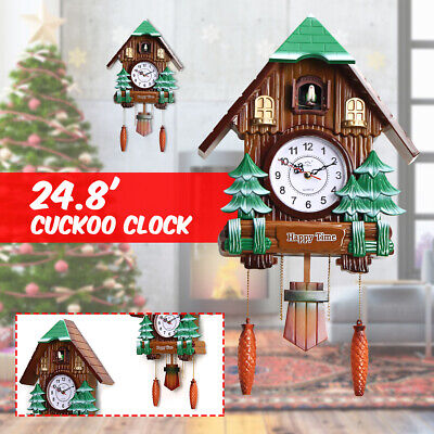 Large Size Wood Cuckoo Clock Green Hut Swing Wall Alarm Art Handcraft Room Decor