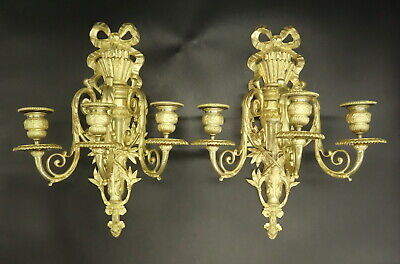 Imposing Pair Of Sconces 3 Lights Louis Xvi Style 19Th - Bronze - French Antique