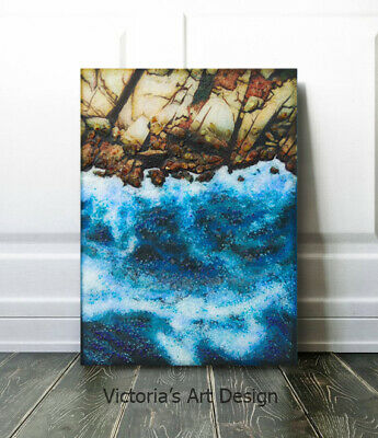 Original Painting on canvas with epoxy resin Abstract Seascape Modern Art