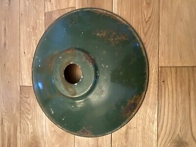 Vintage Industrial French Light Shade - Green With Enamel Lower