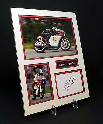 Giacomo AGOSTINI Signed Mounted Photo Display AFTAL World Champion Bike Racer