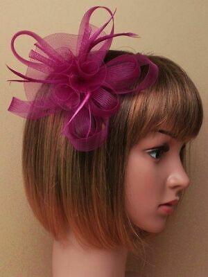 Purple looped fascinator with feathers on clip and pin.